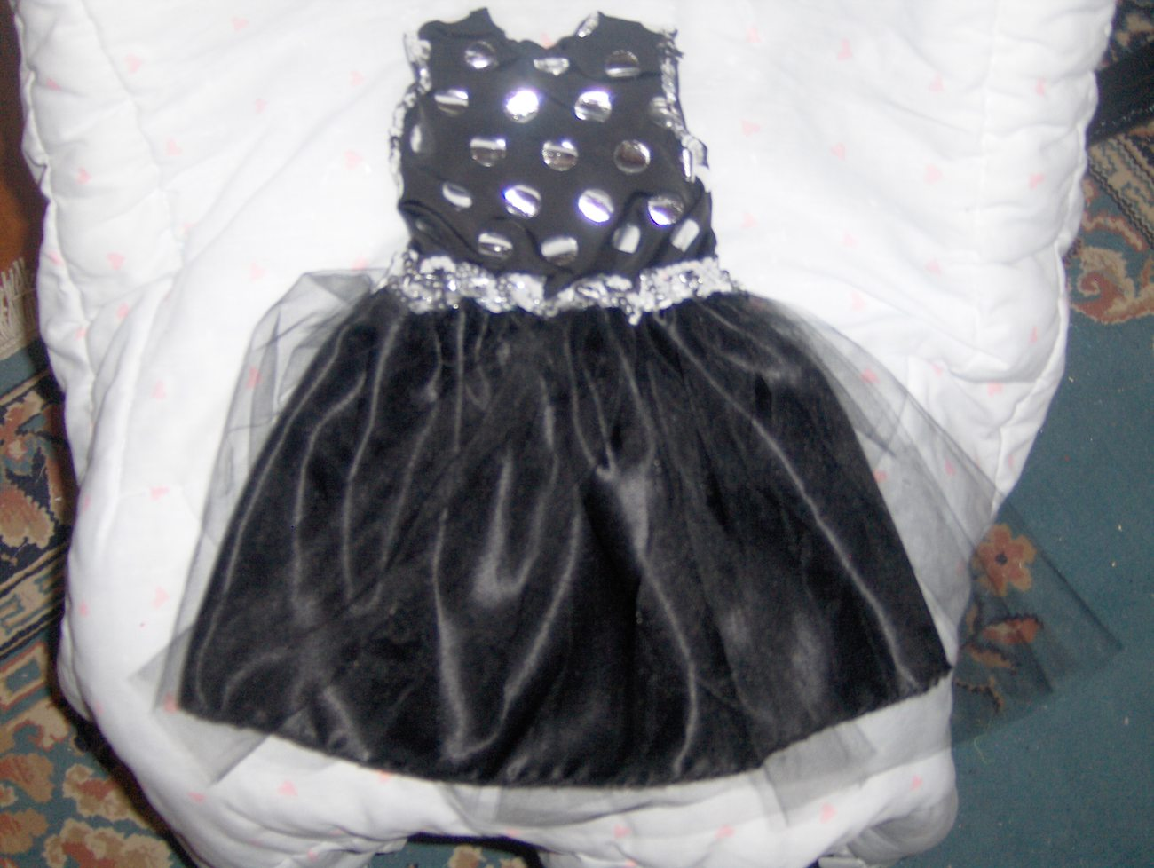 Black and Silver Polka Dot Dress with Satin Skirt and Tulle