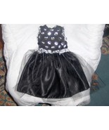 Black and Silver Polka Dot Dress with Satin Skirt and Tulle  - $18.00
