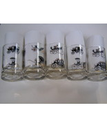 5 small Libbey antique car drinking glasses - $9.99