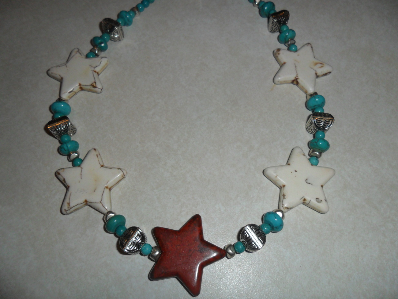 Western Style Handmade Red White and Turquoise Star Necklace Made In Texas USA