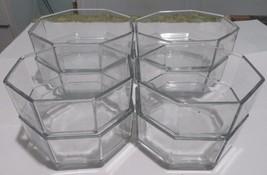 Lot 8 Clear Glass Bowls Soup Cereal Arcoroc Octime octagonal small & medium - $56.07
