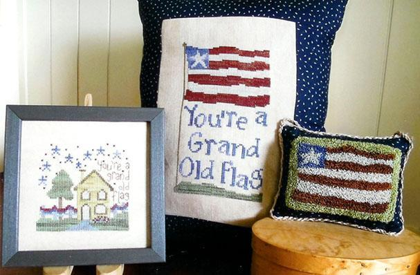 Grand Old Flag patriotic cross stitch chart From The Heart  - $7.20