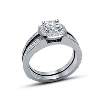 925 Silver 14k White Gold Plated Round Cut Sim Diamond Bridal Wedding Ring Set - $76.33