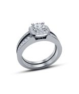 925 Silver 14k White Gold Plated Round Cut Sim Diamond Bridal Wedding Ri... - $76.33