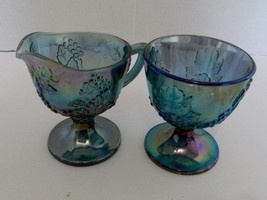 Indiana Glass Blue Carnival Harvest Grape Creamer and Open Sugar Bowl Ir... - $19.68