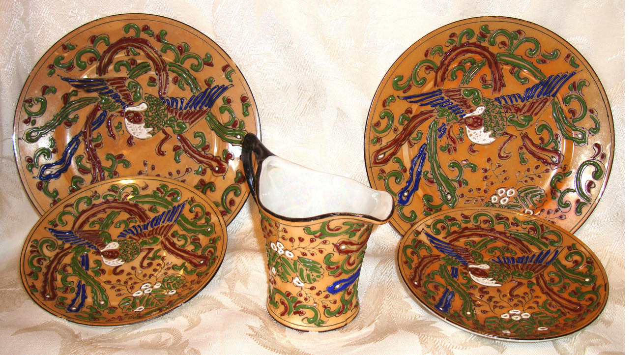 6 Nippon Raised Relief Lusterware Pieces - Made in Japan