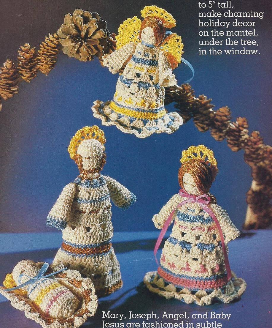 Creche Thread Crochet Pattern~Mary~Joseph~Jesus~Angel