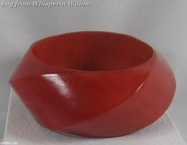 Trendy Wide Red Wood Fashion Bangle - $24.95