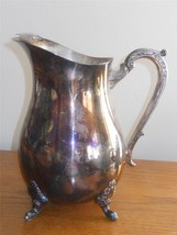Water Pitcher Silver Plated Footed Base Ice Catcher International Silver... - $24.99