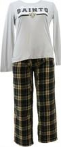NFL Women's Pajama Set Long Slv Top Flannel Pants Saints XL NEW A387687 - $30.67