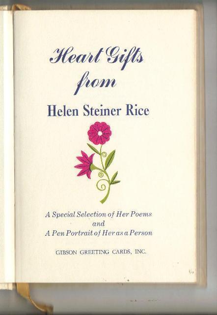 Heart Gifts from Helen Steiner Rice,  Poetry, 1968, Hardcove