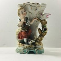 "Antique Capodimonte style vase - Girl on joy (""N"" Mark) 5in - $35.59"