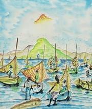 SIGNED FRANTZ CHARLES HAITIAN SEASCAPE WATERCOLOR HAITI ART FRAMED PAINTING - $131.31