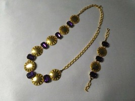 Vintage Purple and Gold tone Bracelet and Necklace Set - $14.85