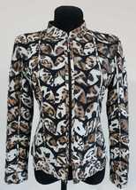 White Leopard Pattern Leather Leaf Jacket Womens All Sizes Zipper Short D1 - $150.00