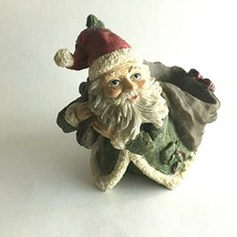 "VINTAGE CHRISTMAS FIGURINE OLD ST. NICK SANTA SACK-DISH  6X5"" RESIN COLL... - $17.57"