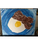 Bacon and Eggs Original Abstract Painting Contemporary Modern Art - $37.95