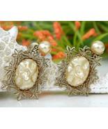 Vintage Baroque Faux Pearl Filigree Screwback Dangling Earrings 1950s - $24.95