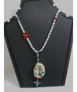 Turquoise, Coral, Freshwater Pearl, and Silver Necklace RKS87 - $125.00