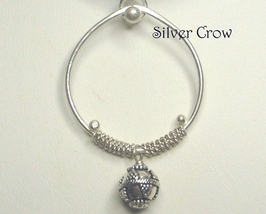 Sterling Silver, Bead & Coil Hoop Pendant Necklace - $17.99