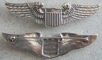 Primary image for WWII Pilot Wing Sterling Luxenberg 3in pin back