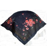 Valentina Fiore Print Silk Scarf Navy Pink Green 30 inches   - $17.99
