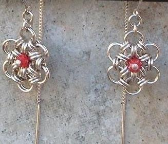 Chainmail Earrings Argentium Sterling Silver & Coral Crystal  Chainmaille