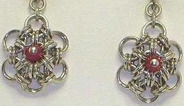 Chainmail Earrings Argentium Sterling Silver & Coral Crystal  Chainmaille - $30.99