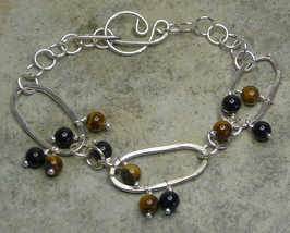 Tigereye Gemstone  & Argentium Sterling Silver Fused Link Bracelet - $34.99