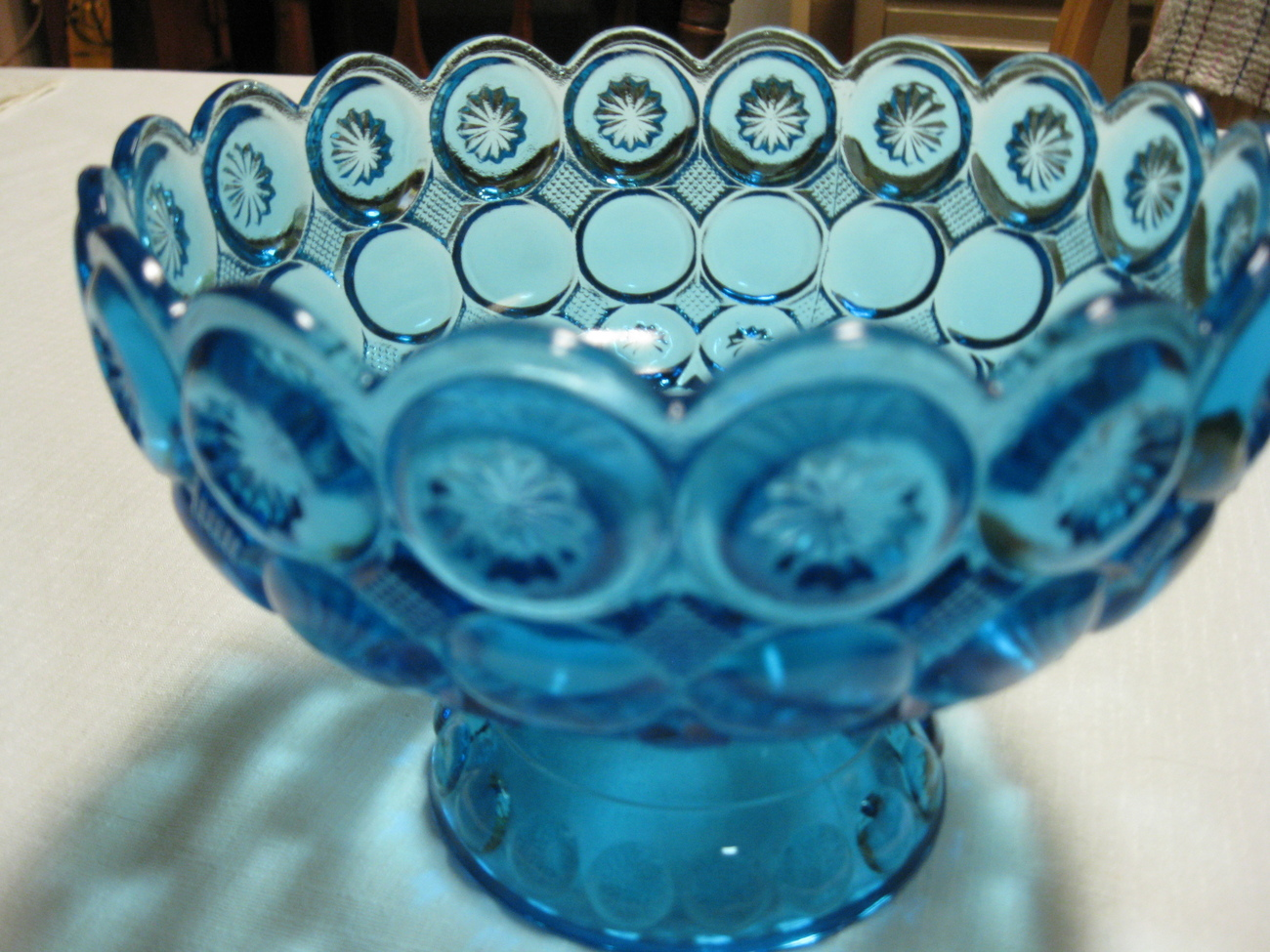 "Kemple Glass Moon and Star Variant Blue 8"" Compote Bowl  Made in USA"