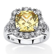 3.62 TCW Canary CZ Halo Ring Platinum over .925 Silver - $32.99