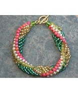 Woven Freshwater Pearl & Seed Bead Spiral Bracelet Gold Fill - $45.99