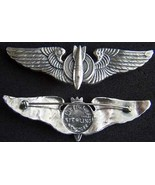 WWII Luxenberg Bomberider Wings 3 in sterling Pin Back               - $90.00