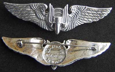 Primary image for WWII Luxenberg Aerial Gunner Wings 3 inch sterling  PB