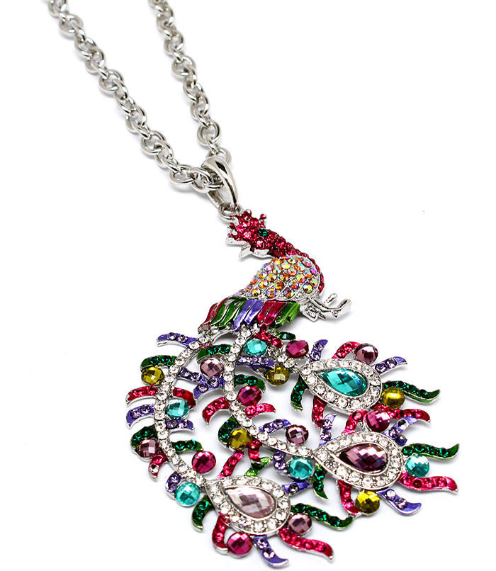 Peacock Multi Color Rhinestone Necklace
