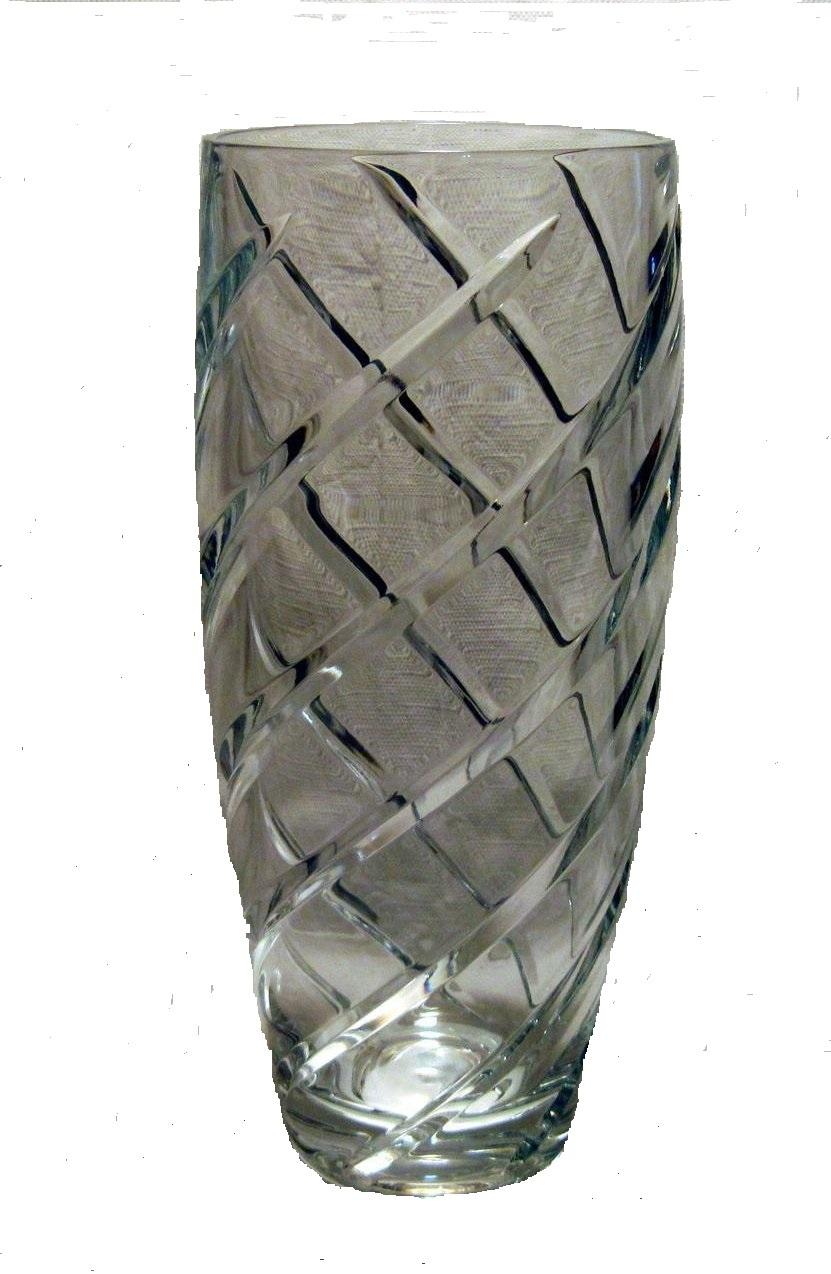 fine crystal cut spiral swirl flower vase 10 inch background removed
