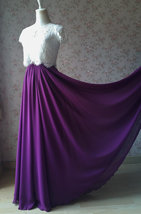 PLUM PURPLE Chiffon Maxi Skirt Purple Wedding Chiffon Skirt (US0-US30) image 2