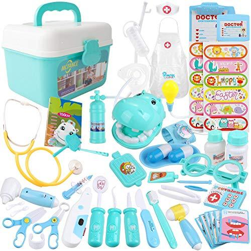 MCFANCE Toy Doctor Kits 48Pcs Pretend Play Doctor Kit Toys Stethoscope Medical K
