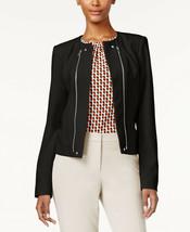 New! CALVIN KLEIN ~Size 8~ Double Zipper Embellished Open-Front Black Ja... - $54.99