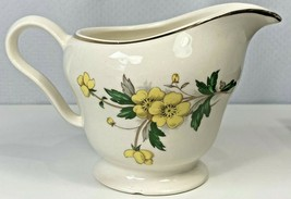 Vintage Knowles Yellow Buttercup China Creamer Pitcher Footed Cup Gold Trim USA - $26.72