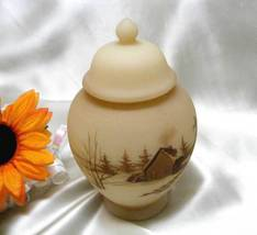 3346 Vintage Handpainted Fenton Down By The Station Temple Jar - $115.00