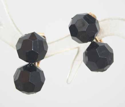 Black Plastic Pot-it Bead clip Earrings 1950s vint. - $9.95