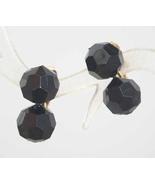 Black Plastic Pot-it Bead clip Earrings 1950s vint. - $9.95