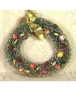 Vintage Christmas Brush Wreath with Fruit - $22.00