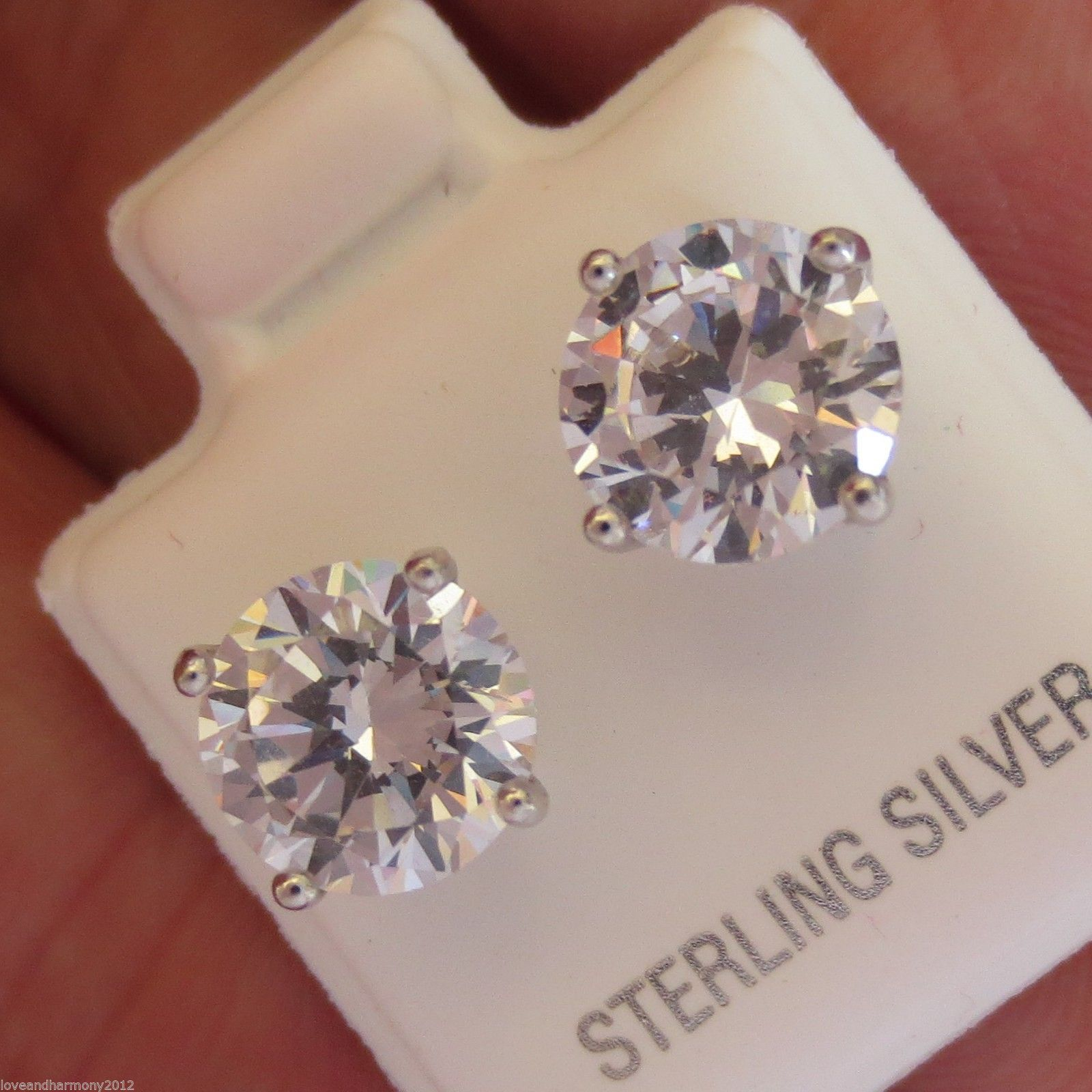 4 cts Round Brilliant cut Stud Earrings 950 Platinum over Solid Sterling Silver