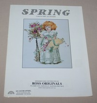 Spring Cross Stitch Pattern Chart Girl with Bonnet and Flowers Ross Orig... - $8.86