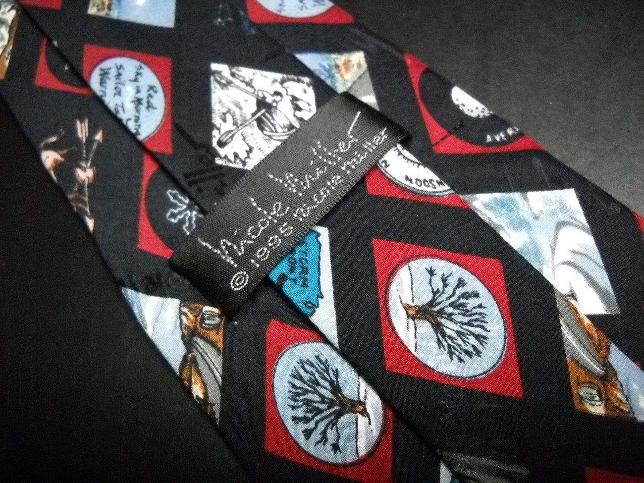 Nicole Miller Neck Tie Hand Sewn 1995 Weather Season Symbols Icons Silk Black