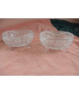 2 Vintage Crystal Cut Glass Saw Tooth Edge 3 Footed Trinket Candy Nut Bowls - $84.15
