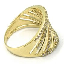 SOLID 18K YELLOW GOLD BAND RING, MULTI OBLIQUE WIRES, CUBIC ZIRCONIA image 3