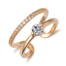 Rose Gold Fn Solid 925 Silver Russian Ice Diamond Womens Solitaire Eternity Ring - $149.99